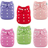 ALVABABY Baby Cloth Diapers 6 Pack with 12 Inserts Adjustable Washable and Reusable Pocket Dipaers Baby Girls 6BM88-AU