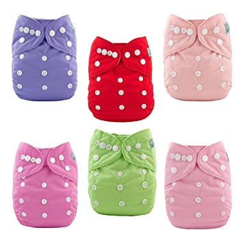 da180769102 Amazon.com   ALVABABY Baby Cloth Diapers 6 Pack with 12 Inserts Adjustable  Washable and Reusable Pocket Diapers for Baby Girls 6BM88   Baby Diaper  Covers   ...