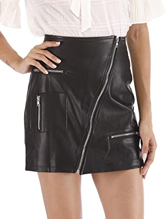 28e7b3db4cf0d1 Agmibrelr Women's High Waisted Tight Faux Leather Zipper Closure Short  Skirts with Pockets Black S
