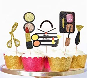 Set of 28 JeVenis Make Up Cupcake Toppers Spa Cupcake Toppers Cosmetics Cupcake Toppers for Make Up Parties Spa Party Decor Make-Up Birthday Cupcake Toppers for Salon Birthday Glam Birthday Tween Birthday Teen Birthday