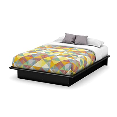Basic Collection Platform Bed with Moulding - Queen Size - Black - Contemporary Design - by South Shore