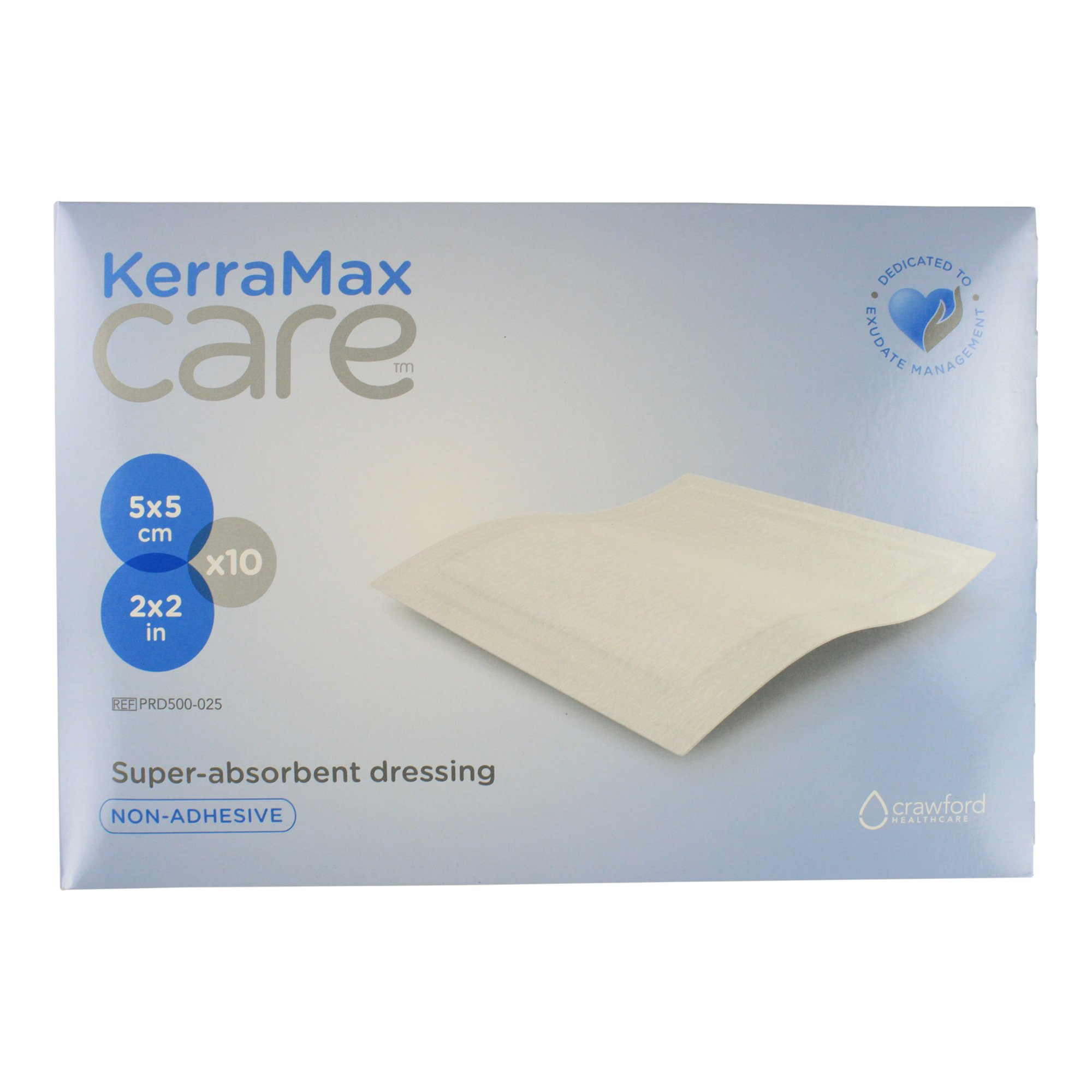 KerraMax Care 2''x2'' Super Absorbent Wound Dressing (PRD500-025) – Absorbs Exudate and Isolates it, Preventing Leaks or Drips for Improved Patient Comfort and Wound Care Treatment (Box of 10)