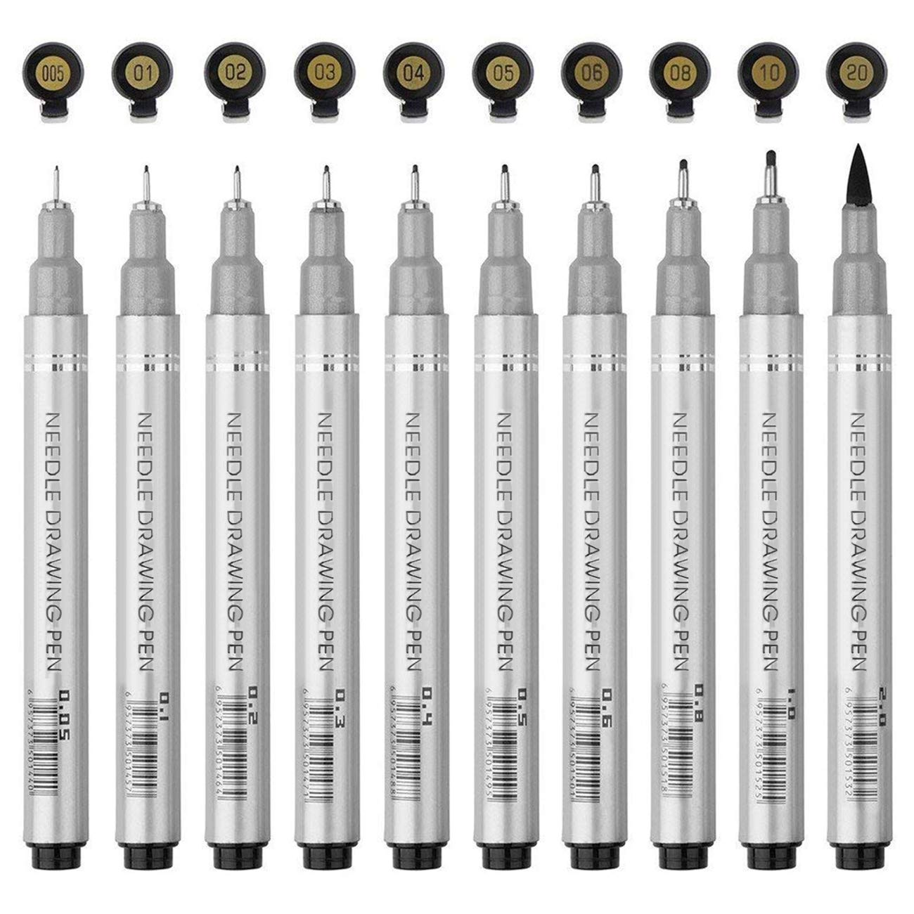 Magicdo Black Micro-Pen Fineliner Ink Pens, Micro Fine Point & Brush Tip Nibs Drawing Pens for Artist Illustration, Office Documents, Scrapbooking, Sketching, Technical Drawing, Set of 10