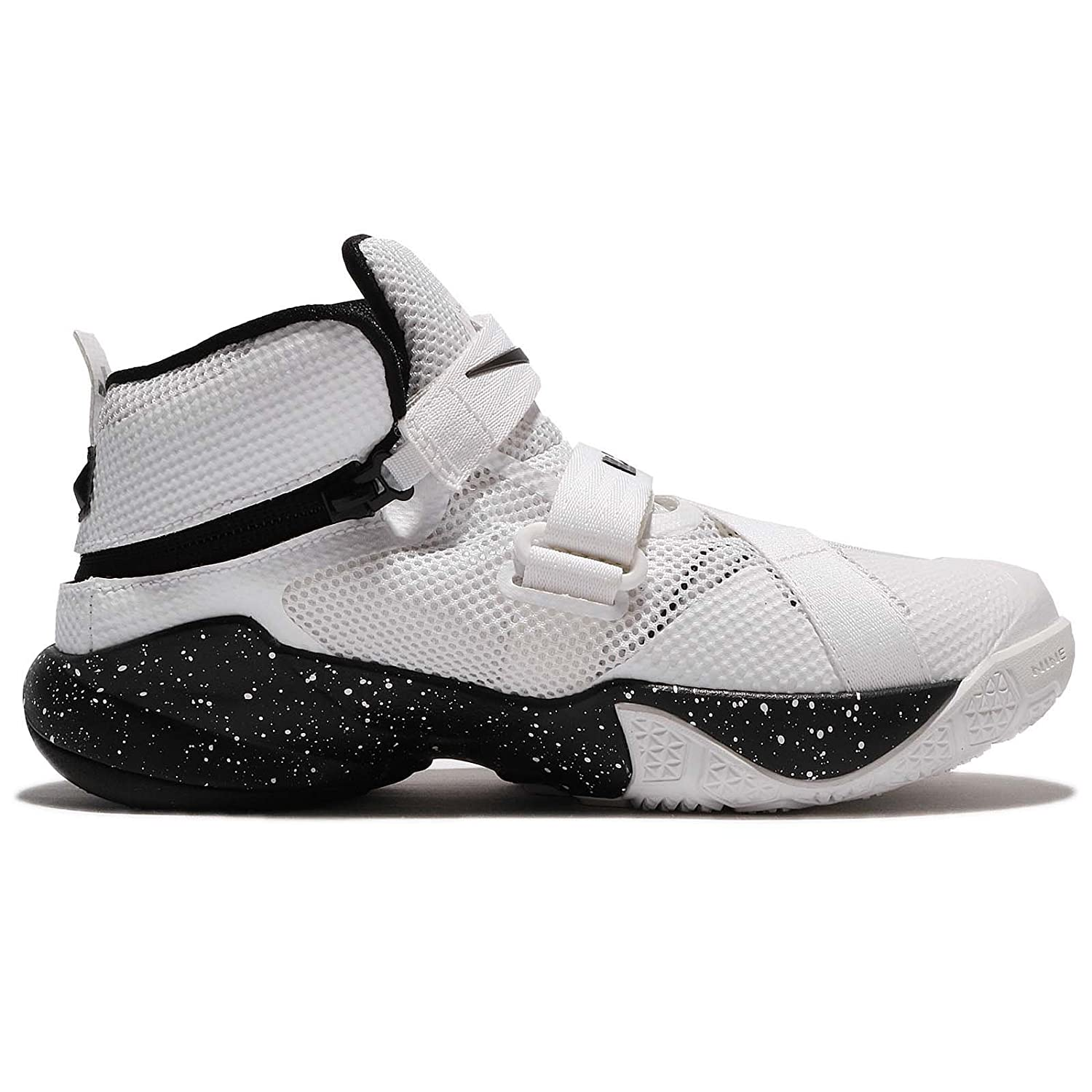 Amazon.com | NIKE Kid's Lebron Soldier IX Flyease GS HK, White/White -  Black - Metallic Silver, Youth Size 4.5 | Basketball