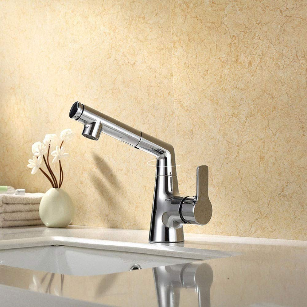 FAMILYA Bathroom Basin Faucet Pull-Type Faucet Universal Tube Faucet Copper Material Hot and Cold Water Faucet by FAMILYA