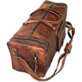 """30"""" Inch Real Goat Vintage Leather Large Handmade Travel Luggage Bags in Square Big Large Brown bag Carry On (28 inch)"""
