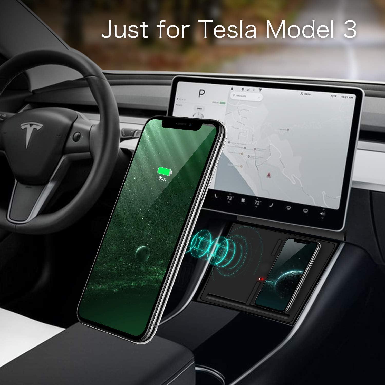dos tel/éfonos VXDAS Nuevo cargador inal/ámbrico modelo actualizado estaci/ón de carga almohadilla para accesorios modelo 3 de Tesla cargador dual de tel/éfono inal/ámbrico QI de 10 vatios