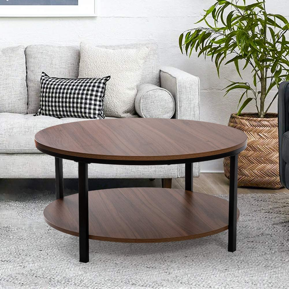 Round Coffee Table for Living Room, 2 Tier Thicken Wooden Coffee Table with Storage Shelf, Sturdy Home Furniture for Bedroom Kitchen Office, Farmhouse Style, 31.5''