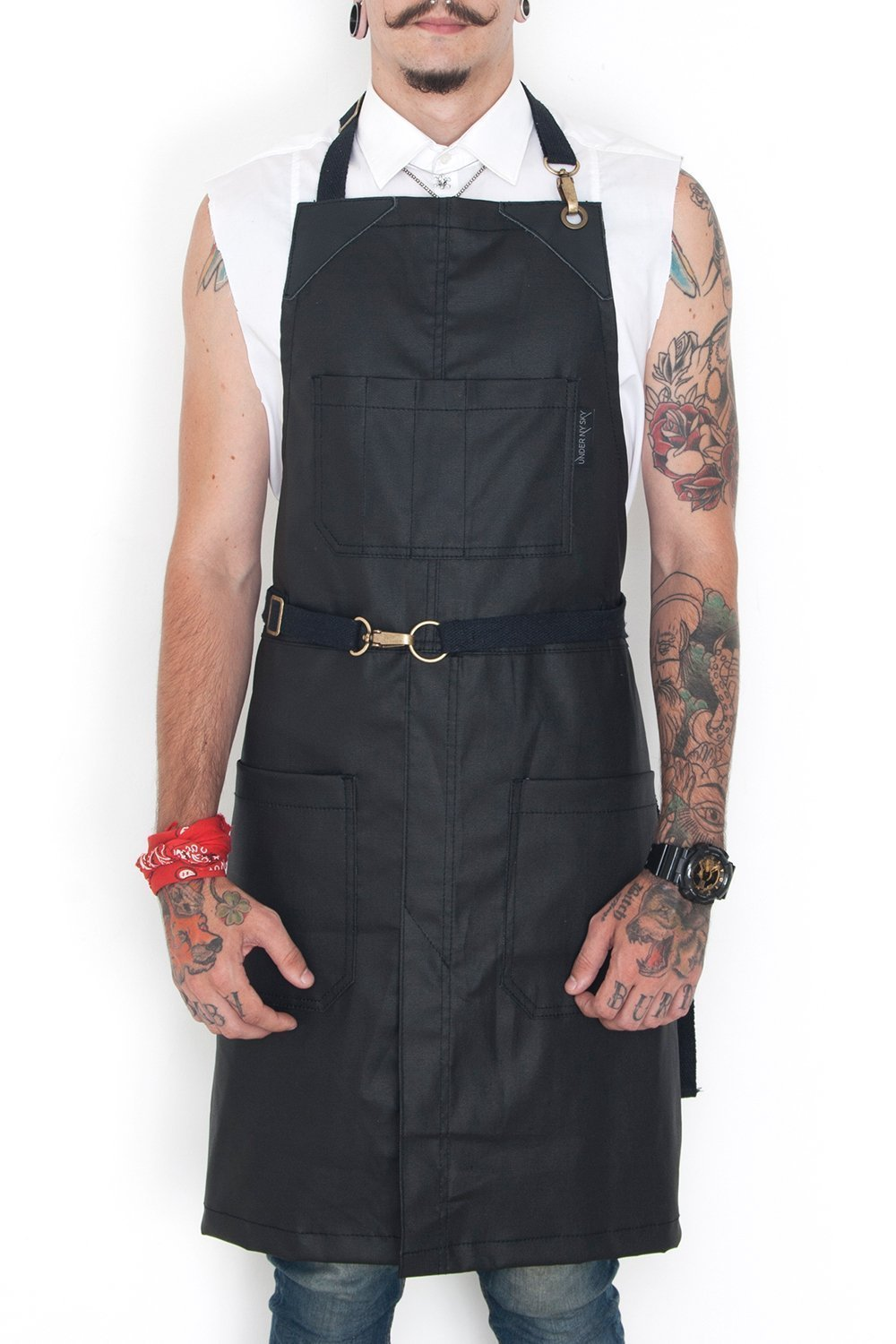 No-Tie Apron - Coated Void Black Denim - Black Leather - Split-Leg by Under NY Sky