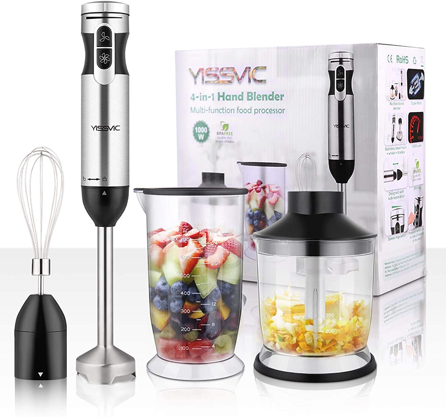 YISSVIC Hand Blender 1000W 700ml Immersion Blender 9 Speed Control, 4 In 1 Powerful Stick Blender, Chopper, Whisk, 500ml Food Grinder for Sauces Smoothie Puree Infant Food