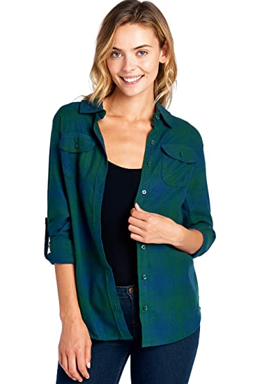 8ecf5c3e265 Blue Age Womens Casual Long Sleeve Plaid Flannel Shirts at Amazon ...