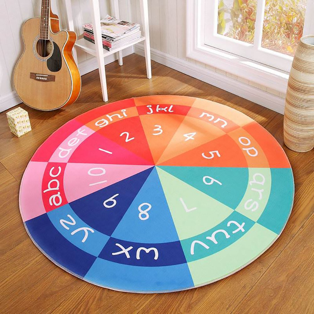Shinybaby Kids Round Rug,Non-Slip Bottom Round Area Rug Children's Fun Area Rug,Round Carpet Floor Mat for Living Room,Bedroom,Children Playroom,3'3 Round,Numbers and Letters