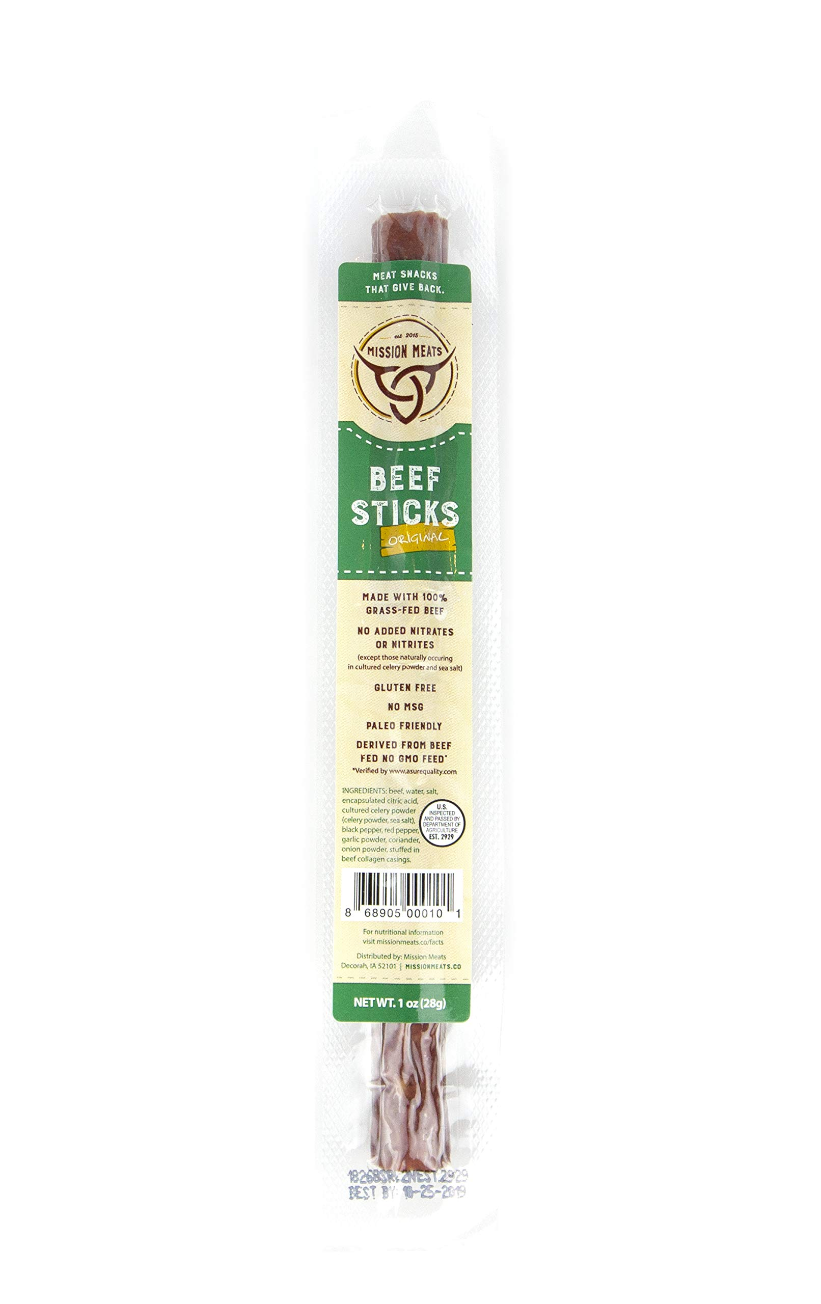 Keto Sugar Free Grass-Fed Beef Snacks Sticks Non-GMO Gluten Free MSG Free Nitrate Nitrite Free Paleo Healthy Natural Meat Sticks by Mission Meats (Image #3)