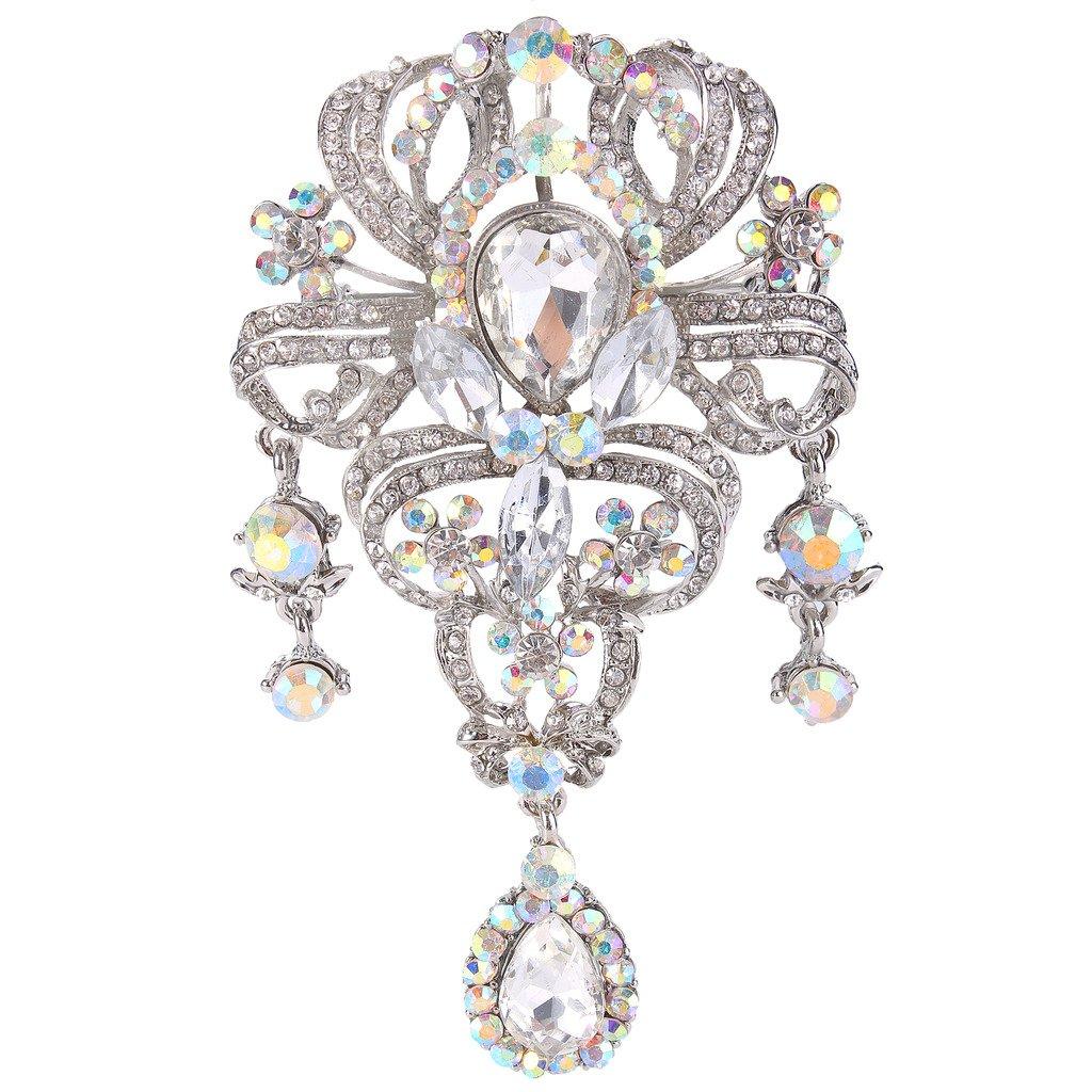 EVER FAITH Austrian Crystal 3.8 Inch Vintage Style Teardrop Flower Brooch Iridescent Clear AB Silver-Tone