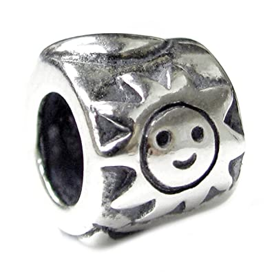 Queenberry Sterling Silver Happy Face European Bead Charm ueKpP9pdo