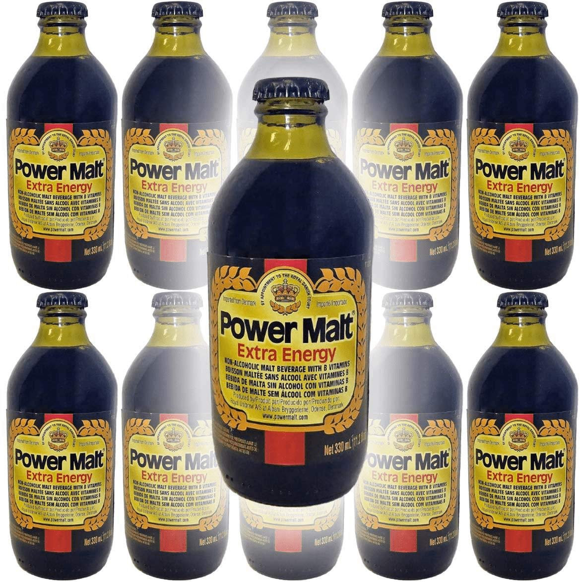 Power Malt, Extra Energy, Non-Alcoholic Malt Beverage, 11oz Glass Bottle (Pack of 10, Total of 110 Fl Oz)