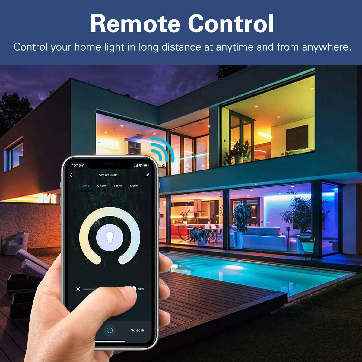 Voice//APP Control Work with Alexa Echo//Google Home//SmartThings RGB Warm White Dimmable Candle Bulb 5W E12 Candelabra Base MoKo Smart LED Light Bulb No Hub,Only Supports 2.4GHz Network