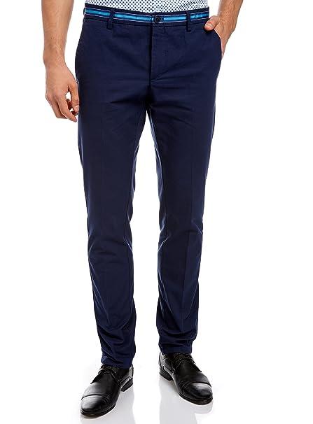 oodji Ultra Hombre Pantalones de Algodón con Decoración en Contraste en la Cintura: Amazon.es: Ropa y accesorios