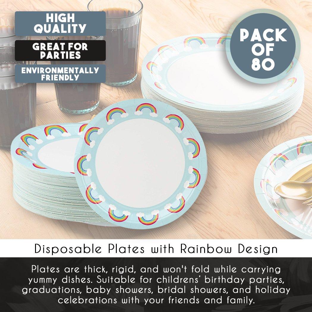 Confezione da 80/piatti usa e getta 22,9/cm Rainbow design
