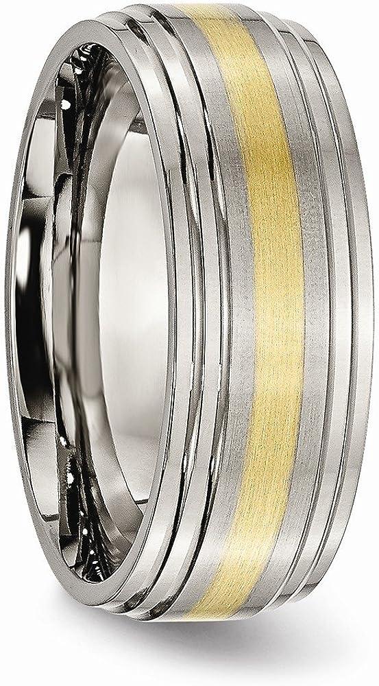 10.5 Titanium Jay Seiler Titanium Grooved 8mm Brushed and Polished Band Size
