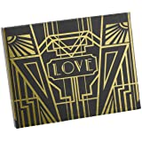 Hortense B Hewitt Art Deco Black Guest Book, Gold
