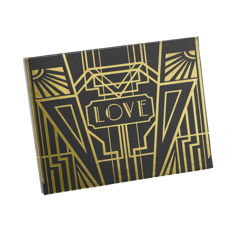Hortense B. Hewitt Art Deco Black Guest Book, Gold