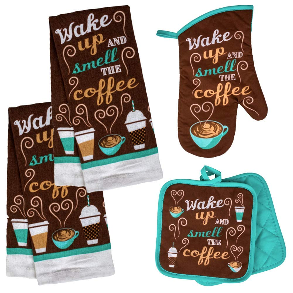 Coffee Themed Kitchen Towel Set with 2 Quilted Pot Holders, Oven Mitt and Dish Towel