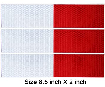 3 Pack Reflective Tape Red And White Stripe Sticker Back Adhesive