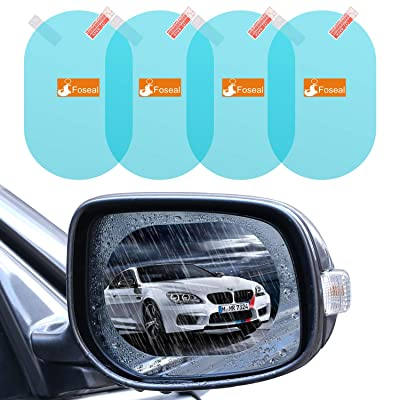 """4 PCS Rainproof Car Rear View Mirror Film, Foseal Side Mirror Film Drive Safely HD Clear Nano Coating waterproof Films Anti-scratch Protector for SUV Car Mirrors Side Windows, Oval (5.31""""x3.74""""): Automotive"""