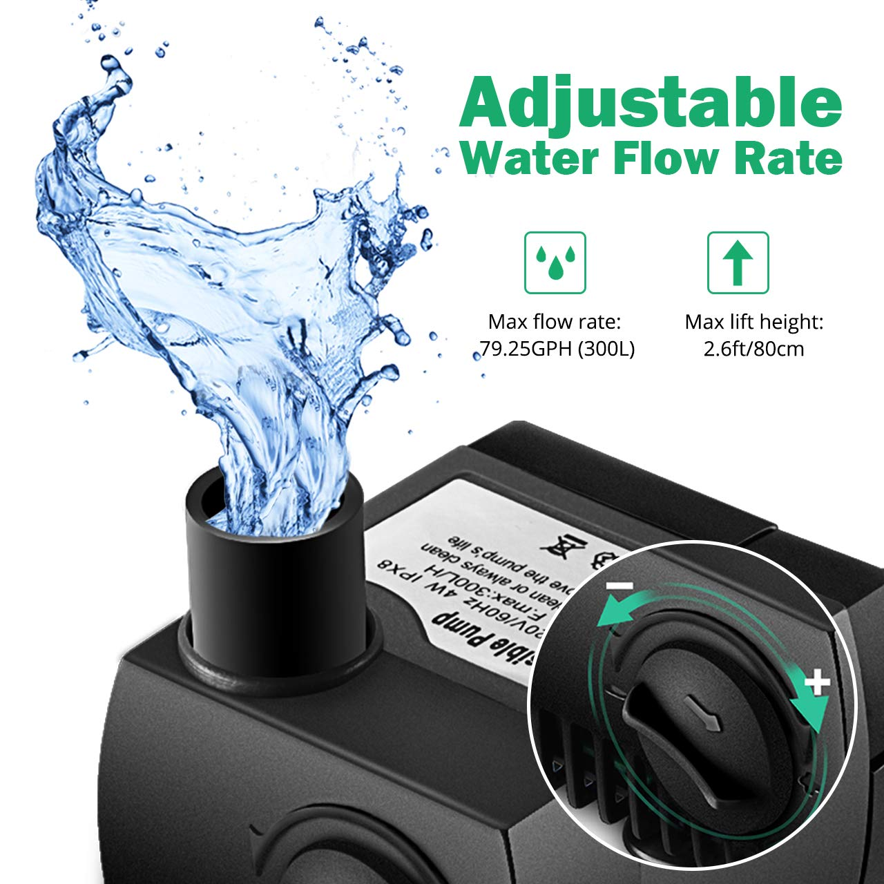 Homasy Upgraded 80 GPH (300L/H, 4W) Submersible Water Pump, 48 Hours Dry Burning Water Pump with 5.6ft (1.7m) Power Cord by Homasy (Image #2)