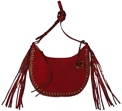 eae558e2a2a5 Image Unavailable. Image not available for. Color  Michael Kors Rhea  Grommet Studded Small Slouchy Suede Shoulder Bag ...