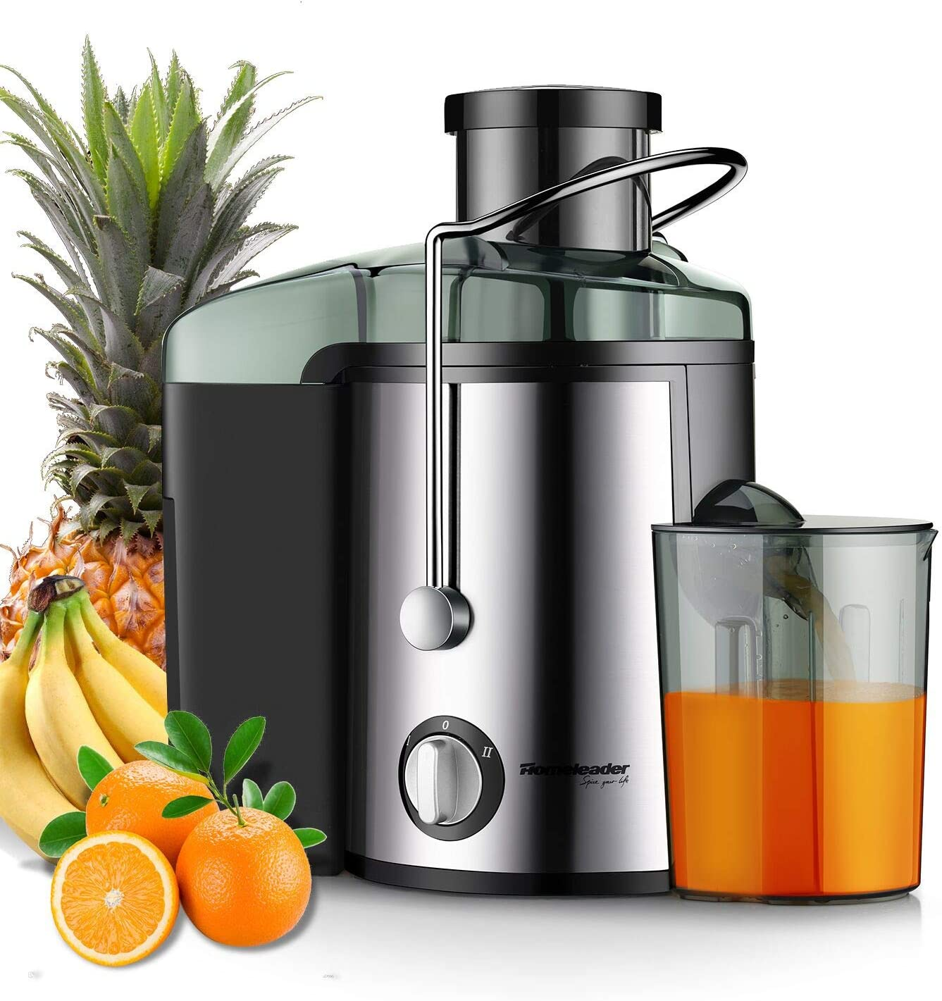 Juicer Juice Extractor, Homeleader Stainless Steel Centrifugal Juicer with 3 Wide Mouth, for Fruits and Vegetables, BPA-FREE