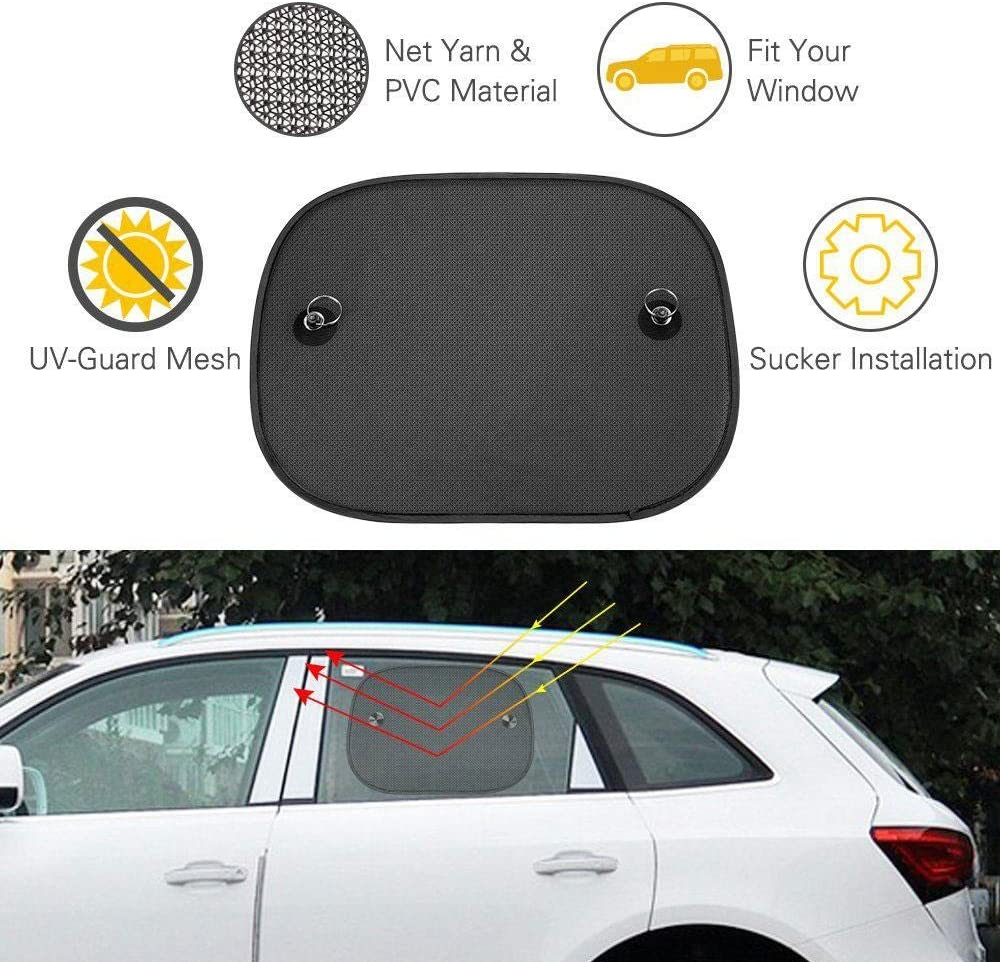 Pets Umiwe Car Window Sun Shades,4 Pcs Universal Baby Car Sunshades for Blocks Harmful UV Rays Sun Glare Heat 47 x 36 cm with 2 Self-Suction Cups Protection for Your Kids