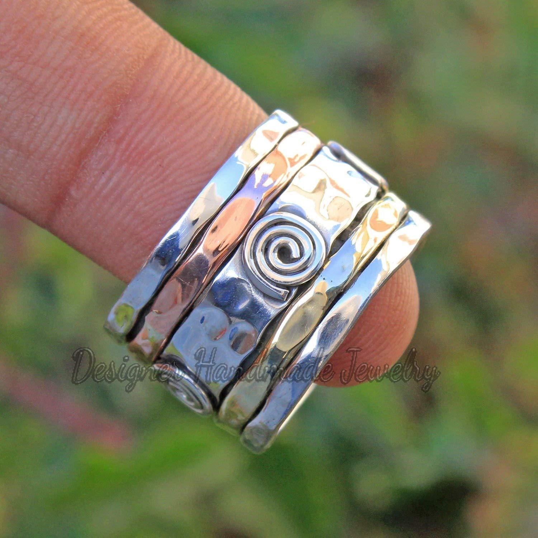 Bohemian Ring Turquoise Ring Spinner Ring Gift For Her, Designer Ring Meditation Ring Anxiety Ring Fidget Ring Plain Silver Ring