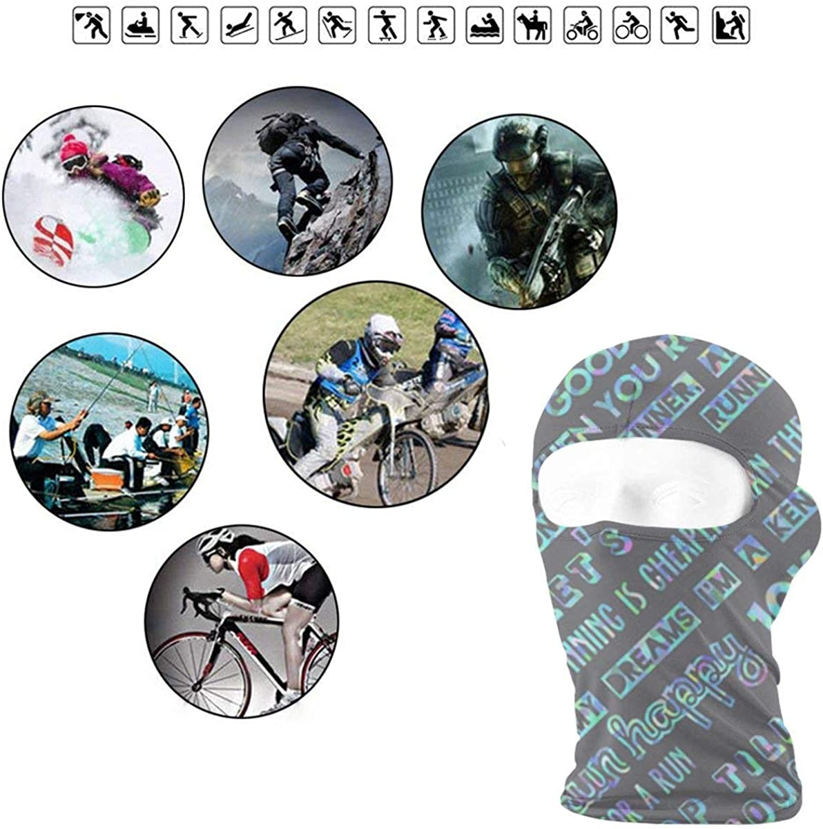 CAClifestyle Running Motivation Unisex Windproof Balaclavas Full Face Mask Hood