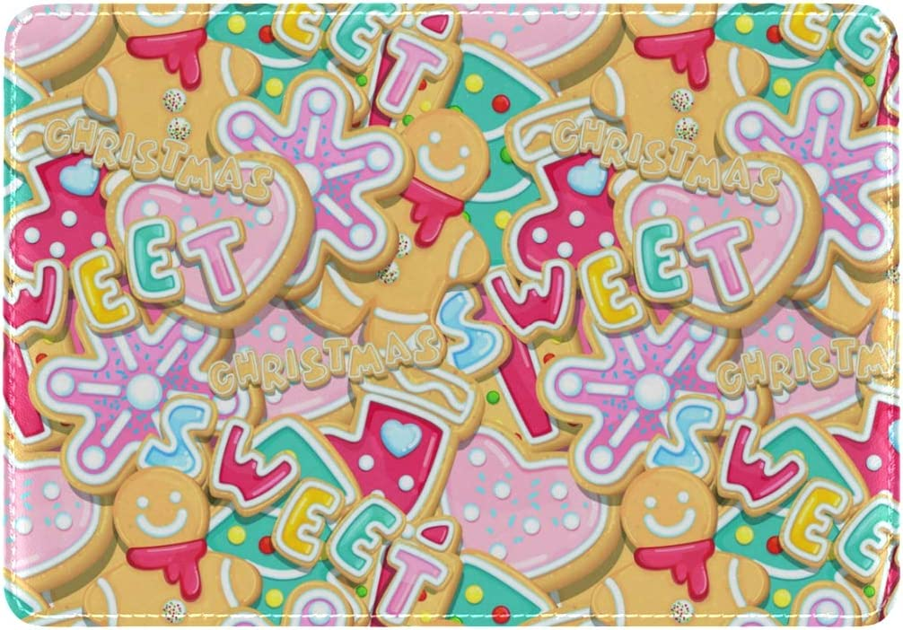Christmas Cookies Are Sweet And Delicious Leather Passport Wallet for Passport Holder for Safe Trip durable Easy to Carry