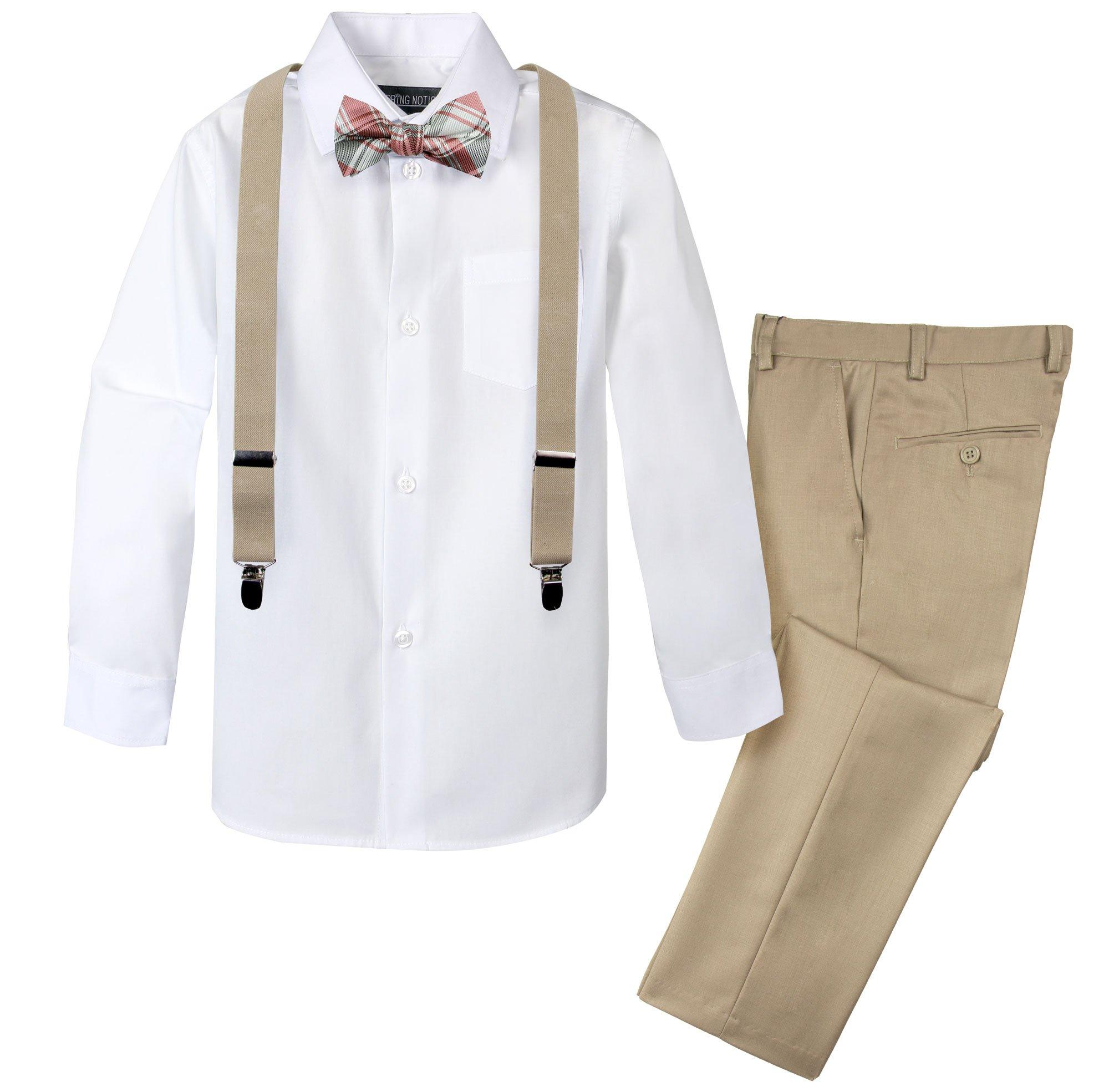 Spring Notion Boys' 4-Piece Patterned Dress up Pants Set 7 Tan/Champagne-Pink