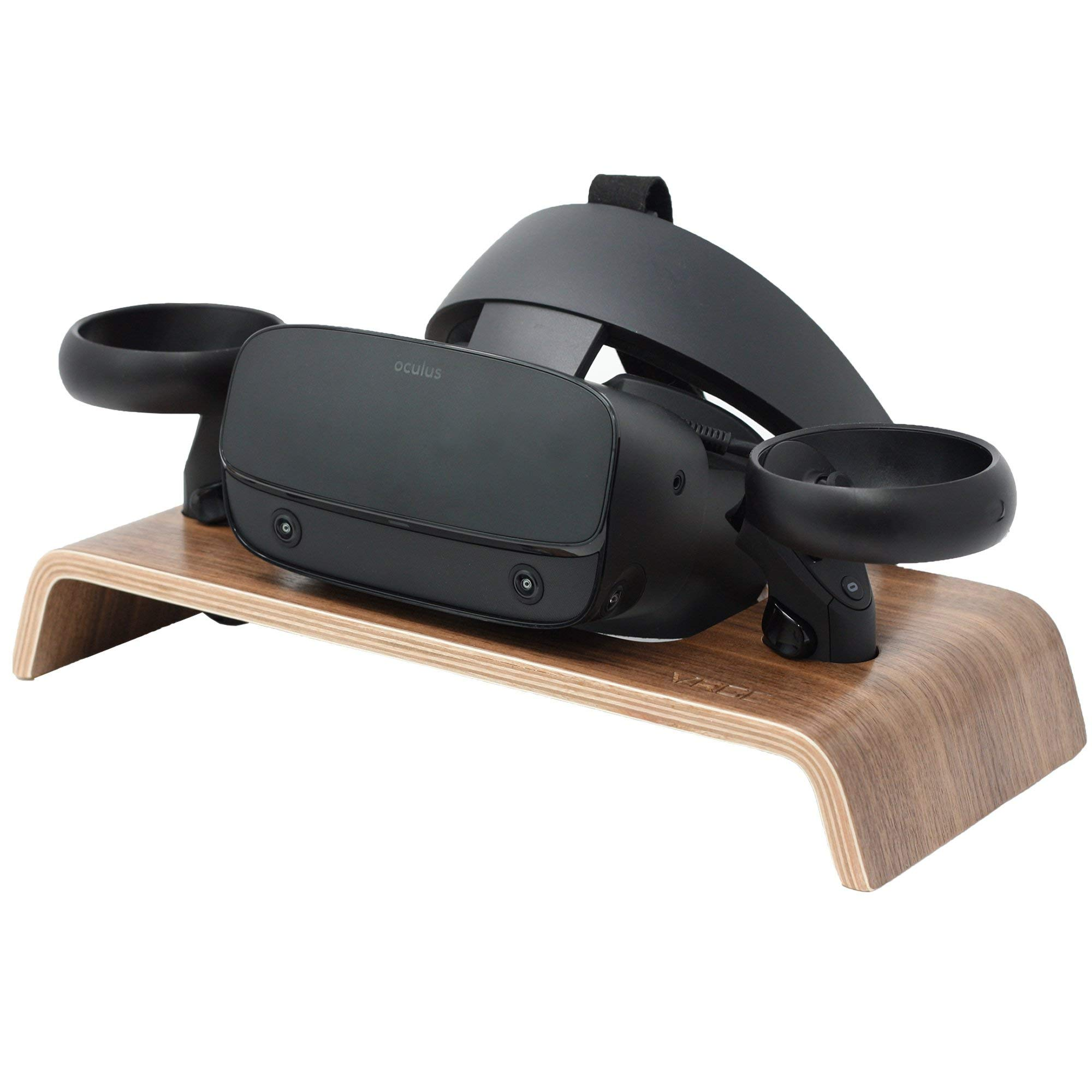 VRGE – Premium Walnut Veneer Wood Storage Stand for Oculus Rift, Rift S and Quest Headset and Controllers