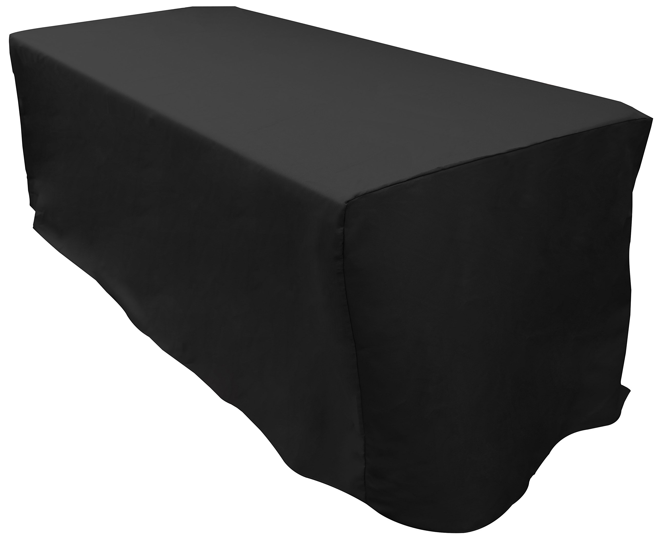Zoyer 6 ft. Fitted Tablecloth - Rectangular Table Cover Fitted Black Tablecloth 30 x 72 Inch 6 Feet - Black
