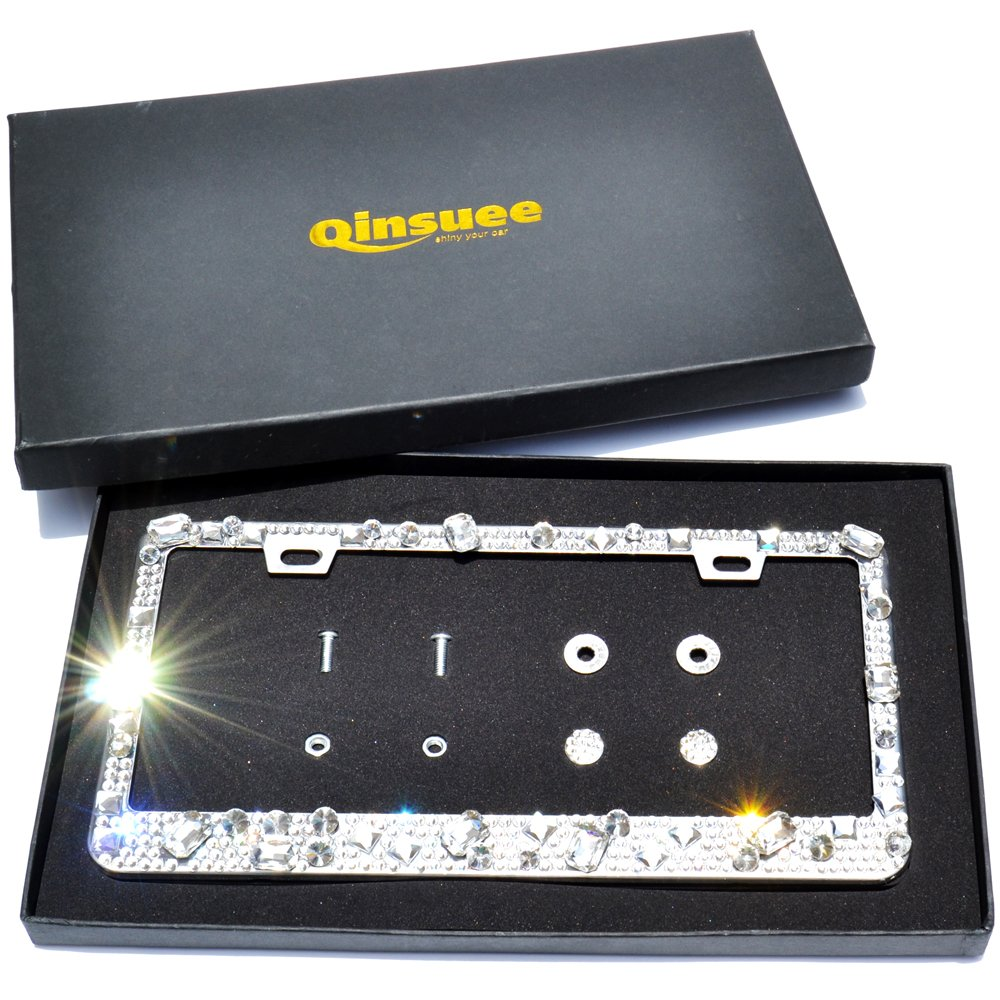 Qinsuee Pure Handmade Waterproof Stainless Steel Metal Luxury Sparkle Crystal Bling License Plate Frame Silvery with Crystal