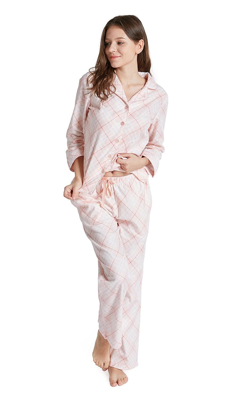100% Cotton Pajamas Set for Women - Flannel Long Sleeve Woman Pajama ... 24a6d17d5a