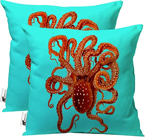 UBU Republic Outdoor Pillow Nautical Beach House – Set of 2 – Teal Blue 20 Indoor Outdoor Octopus Pillows for Your Patio