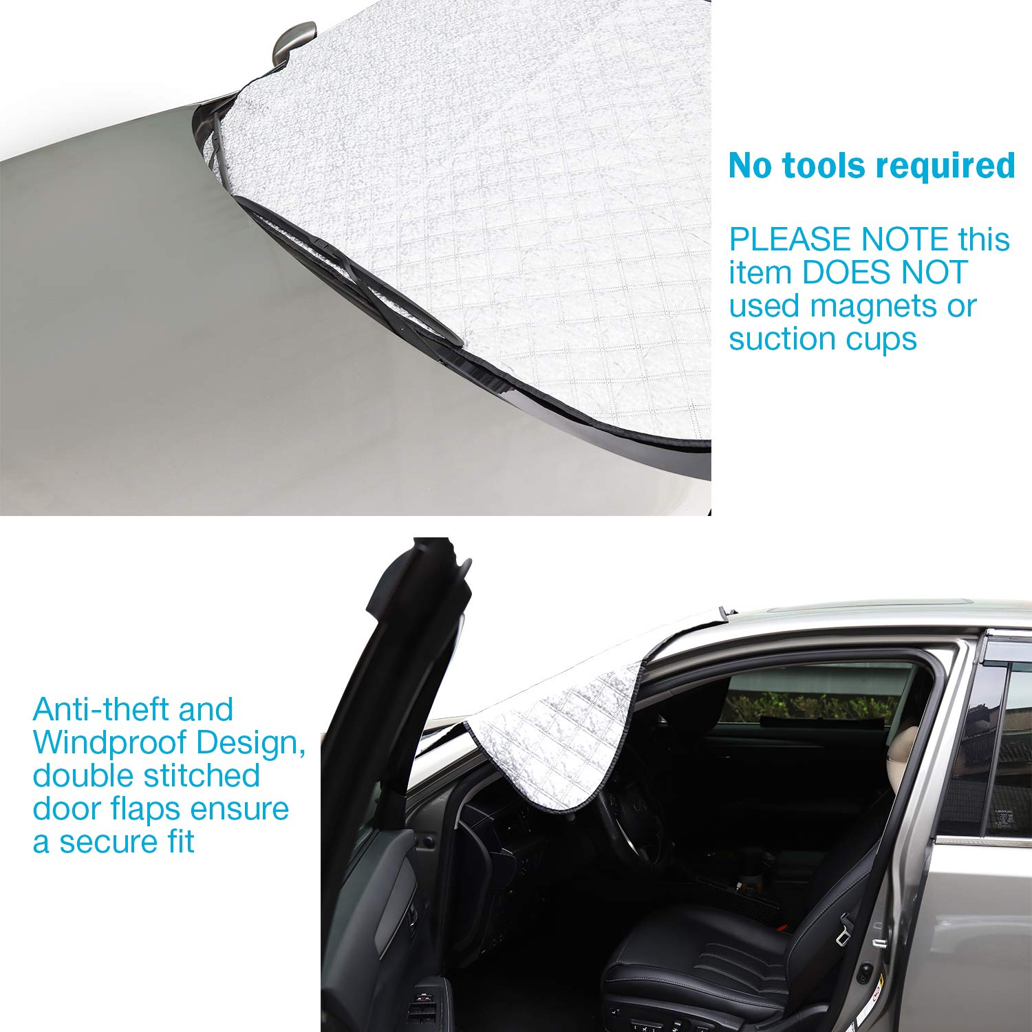 Magnetic Windshield Cover SUV Huge Size Fits Any Cars Van- Keeps Ice /& Snow Off Exterior Auto Snow Windshield Cover with Magnetic Edges Automobile Truck