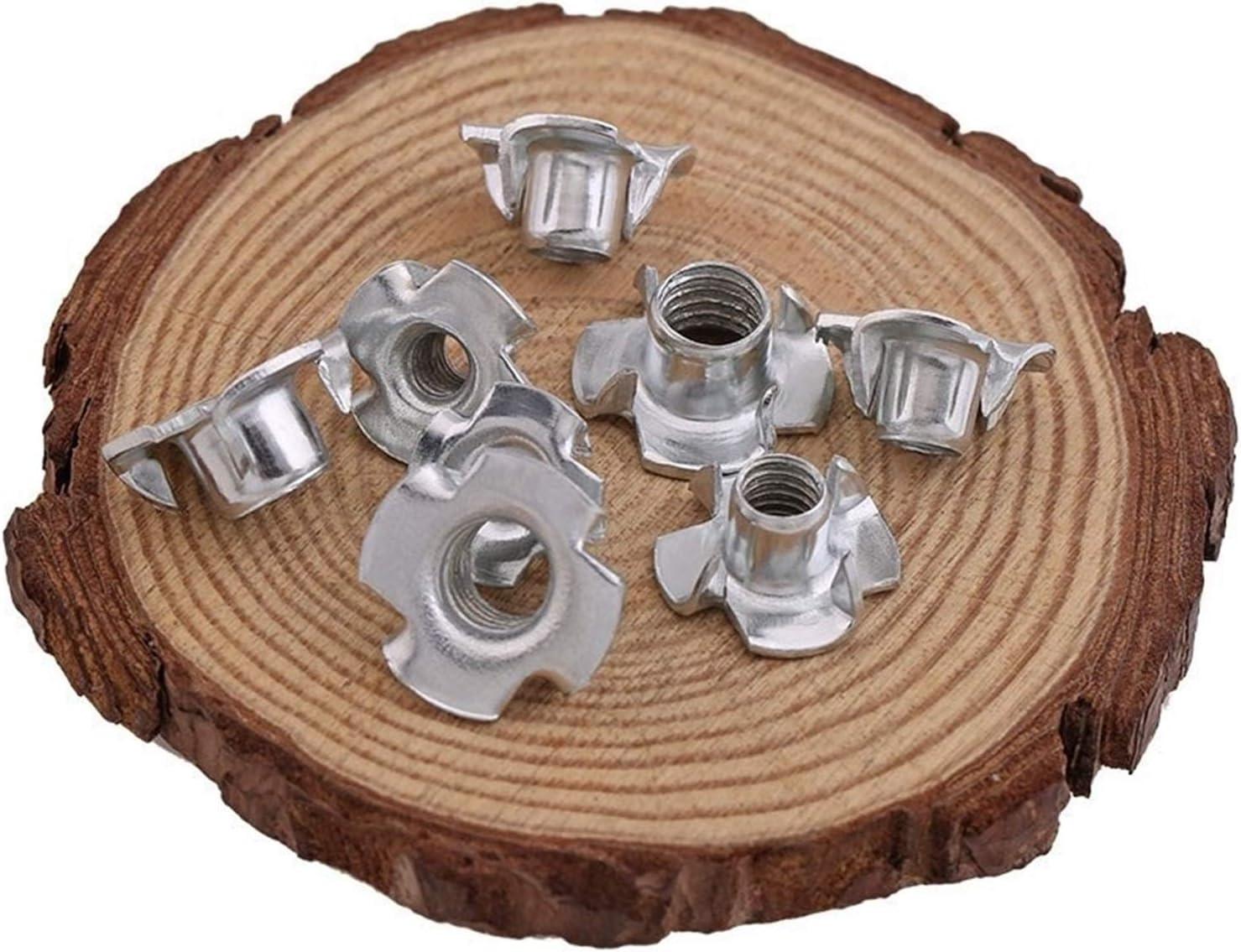 YBDZ 80pcs M3 M4 M5 M6 M8 Zinc Plated Four Claws Nut Speaker Nut T-nut Blind Pronged Tee Nut Furniture Hardware