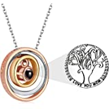 Ldurian I Love You Mom Necklace Engraved Pendant Gold Plated Infinity 3 Circle Tree of Life Necklace Mothers Day Necklace Gif