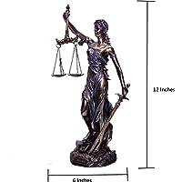 BRK Artigianato Large 30,5cm Giustizia Blind Lady Statua Antico Legge Donna Figurine for Home Decorativo Showpiece Gift Religioso Scultura in Bronzo Ufficio Tavolo scrivania Decorazione