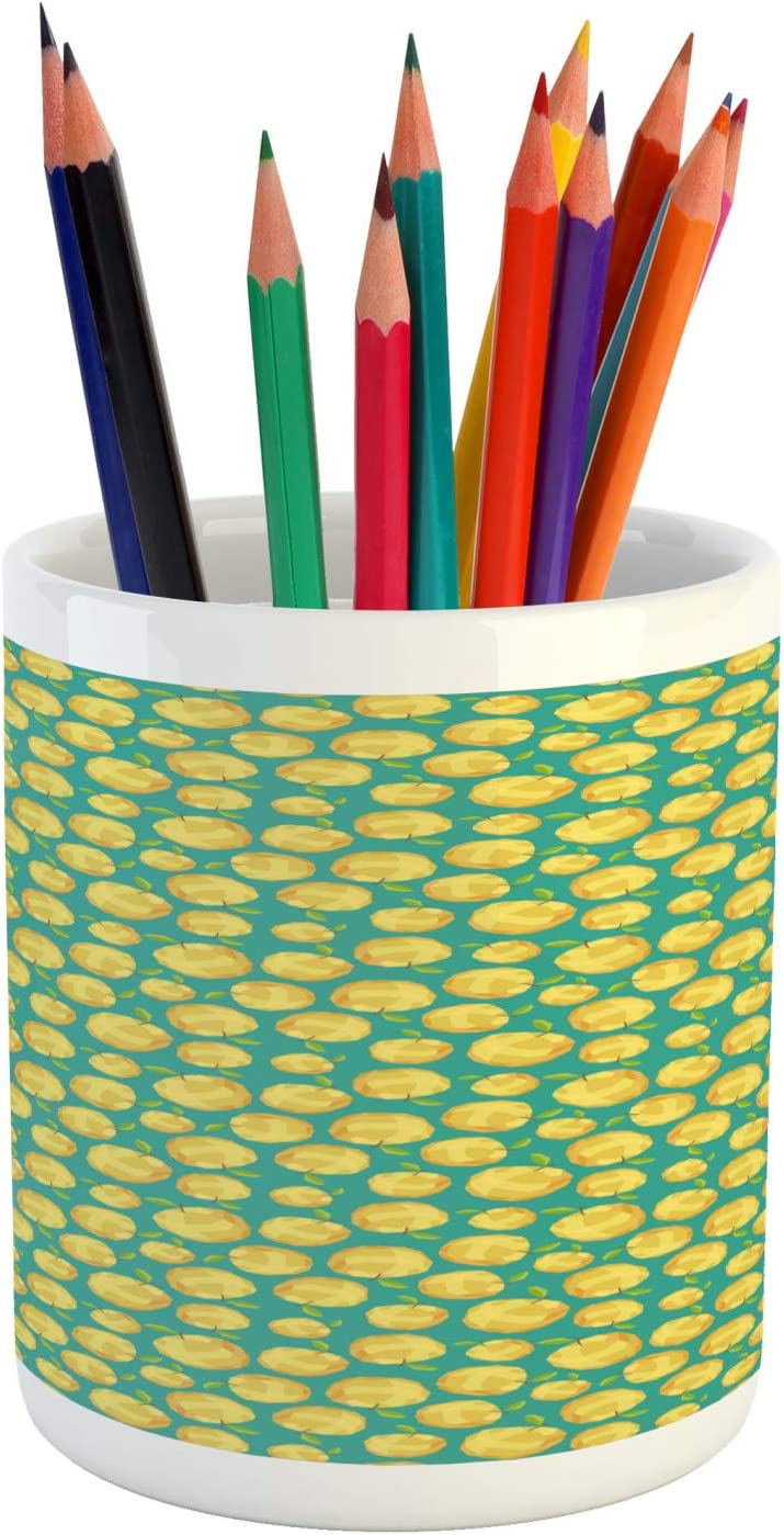 Ambesonne Fruit Pencil Pen Holder, Polygon Patterned Apples Fresh Tones Illustration, Ceramic Pencil Holder for Desk Office Accessory, 3.6