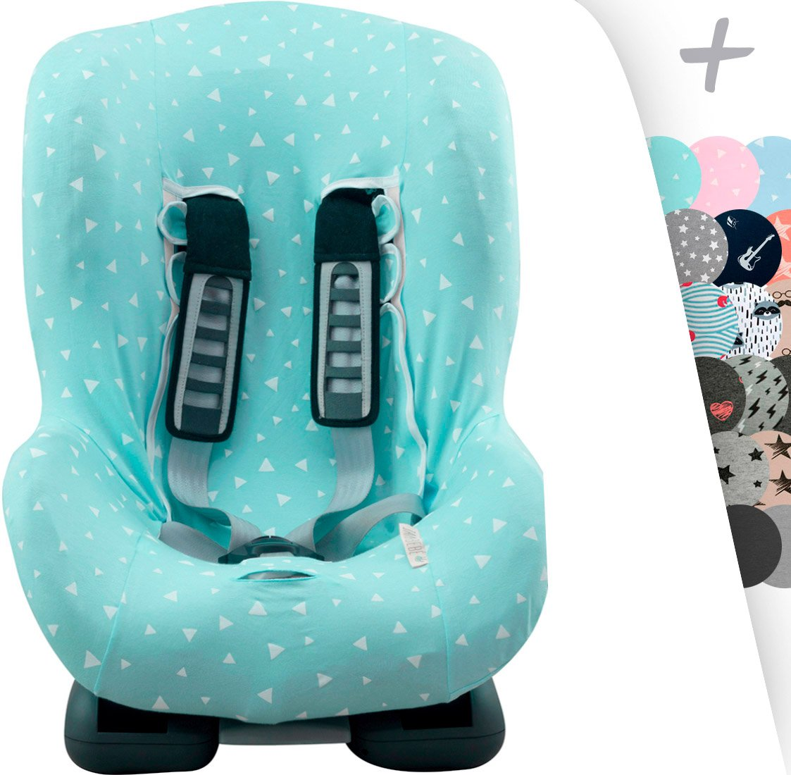 Universal Car Seat Cover Liner for Child's Group 1, 2 y 3 Janabebe Romer Bitax, Maxi Cosi, Cybex (Black Series)