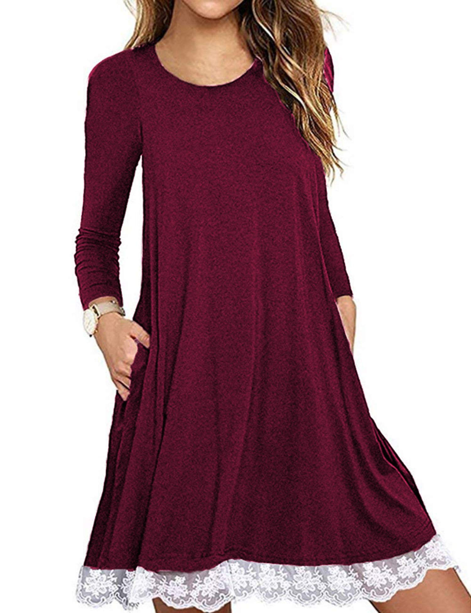 FISOUL Women's Casual Lace Tunic Dress Loose T-Shirt Dress with Pockets Wine Red L