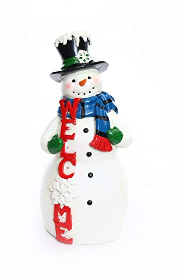 alpine corporation christmas snowman welcome statue with led lights tm